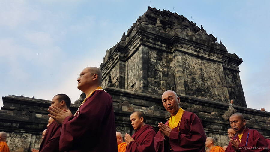 mendut temple monks in indonesia