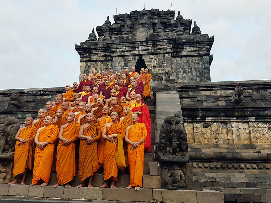 group of Mendut Monks Indonesia